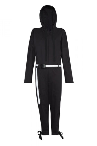 Shop Emerging Unisex Street Brand Monochrome Dark Grey Jumpsuit with Reflective Belt at Erebus