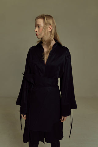 Shop Emerging Dark Luxury Avant-garde Designer Pavlina Jauss Mythology Collection Black Medusa Coat at Erebus