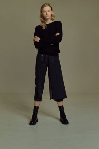 Shop Emerging Dark Luxury Avant-garde Designer Pavlina Jauss Mythology Collection Anthracite Thor Trousers at Erebus