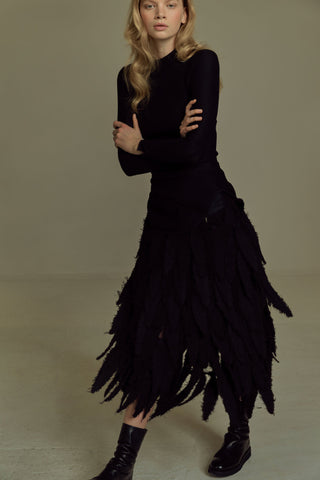 Shop Emerging Dark Luxury Avant-garde Designer Pavlina Jauss Mythology Collection Black Titan Skirt at Erebus