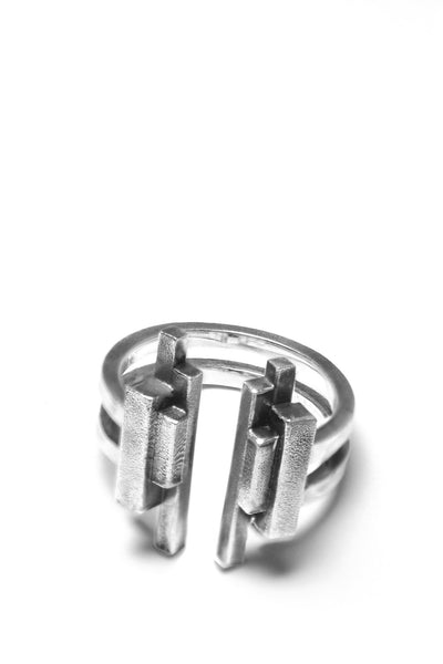 Shop Emerging Avant-garde Slow Fashion Unisex Brand Draug Jewellery Silver Kazimir Ring at Erebus