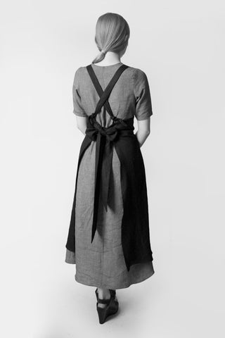 Shop Emerging Conscious Avant-garde Fashion Brand Atelier Kesa Black Linen Apron at Erebus