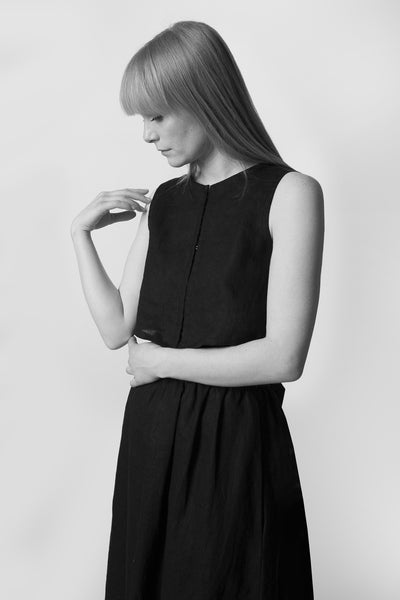 Shop Emerging Conscious Avant-garde Fashion Brand Atelier Kesa Black Linen Sleeveless Crop Top at Erebus