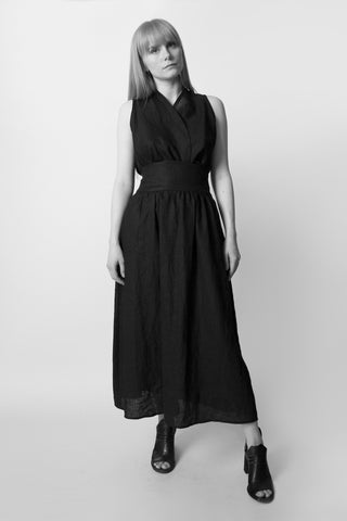 Shop Emerging Conscious Avant-garde Fashion Brand Atelier Kesa Black Linen Belted Midi Skirt at Erebus