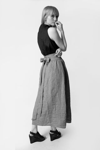 Shop Emerging Conscious Avant-garde Fashion Brand Atelier Kesa Grey Organic Linen Belted Midi Skirt at Erebus