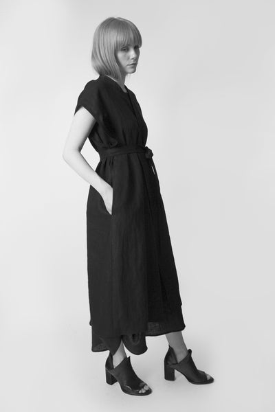 Shop Emerging Conscious Avant-garde Fashion Brand Atelier Kesa Black Linen Long Kimono Vest at Erebus