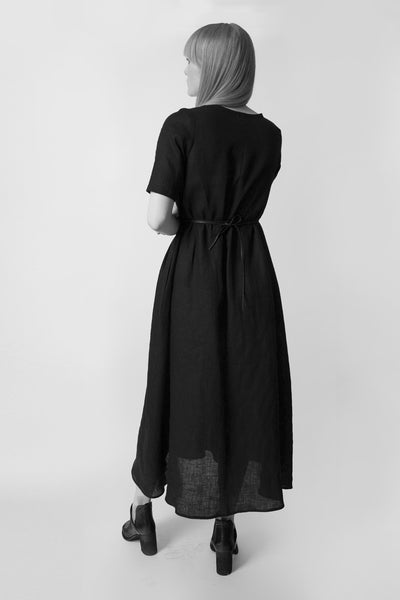 Shop Emerging Conscious Avant-garde Fashion Brand Atelier Kesa Black Linen Light Maxi Dress at Erebus