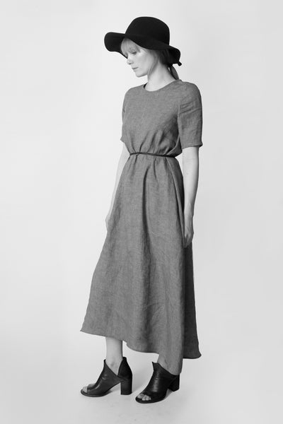 Shop Emerging Conscious Avant-garde Fashion Brand Atelier Kesa Grey Organic Linen Light Maxi Dress at Erebus