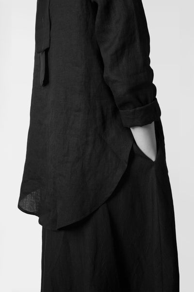 Shop Emerging Conscious Avant-garde Fashion Brand Atelier Kesa Black Linen Minimal Blouse at Erebus