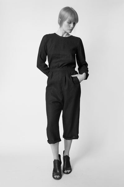 Shop Emerging Conscious Avant-garde Fashion Brand Atelier Kesa Black Linen Everyday Trousers at Erebus