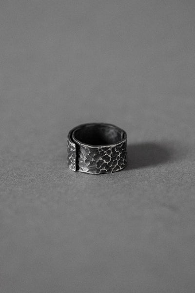 Shop Emerging Conscious Avant Garde Brands Atelier Kesa x ASKA Textured Silver Folded Ring at Erebus