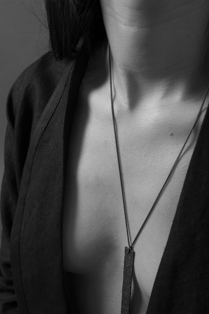 Shop Emerging Conscious Avant Garde Brands Atelier Kesa x ASKA Textured Silver Long Necklace at Erebus