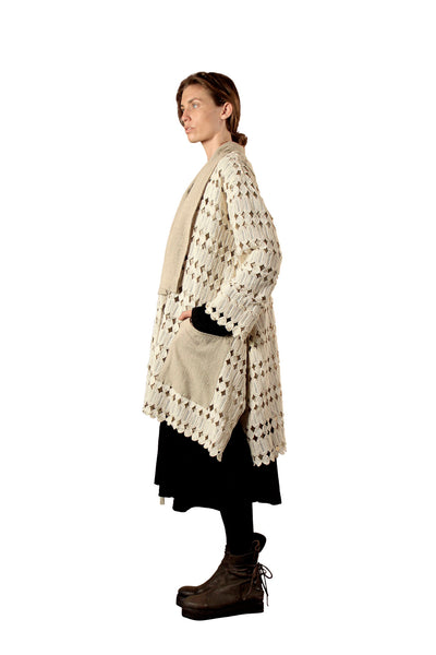 Shop Emerging Slow Fashion Genderless Avant-garde Designer Mark Baigent Natural Kintamani Kimono Coat at Erebus