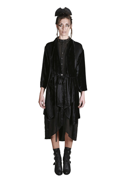 Shop Emerging Slow Fashion Genderless Avant-garde Designer Mark Baigent UNITAS Collection Black Kintamani Silk Coat at Erebus