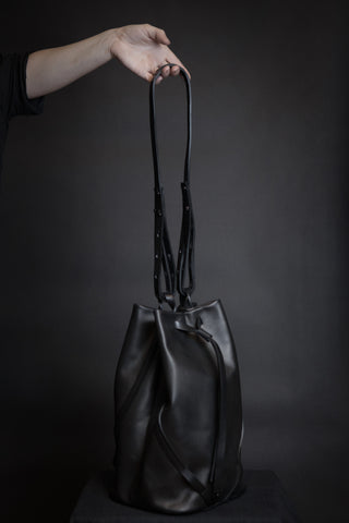 Shop Emerging Conscious Avant-garde Designer Brand MDK Miranda Kaloudis Black Kouvas Transformable Bag at Erebus