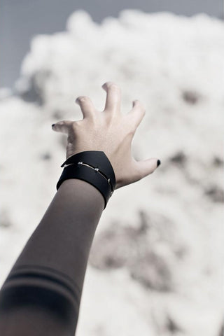 Shop emerging slow fashion accessory brand Aumorfia black leather SPHERES TRNGL Cuff with sterling Silver - Erebus - 4