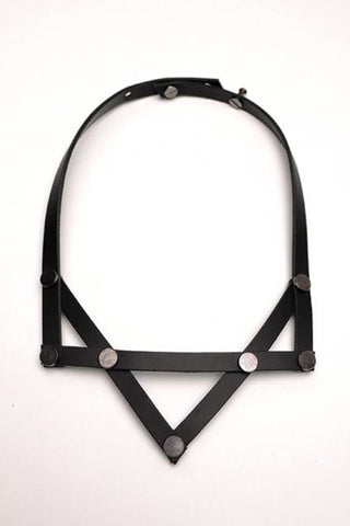 Shop emerging slow fashion accessory brand Aumorfia black leather PV necklace - Erebus - 1