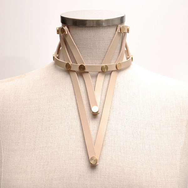 Shop emerging slow fashion accessory brand Aumorfia nude leather VXL necklace - Erebus - 8