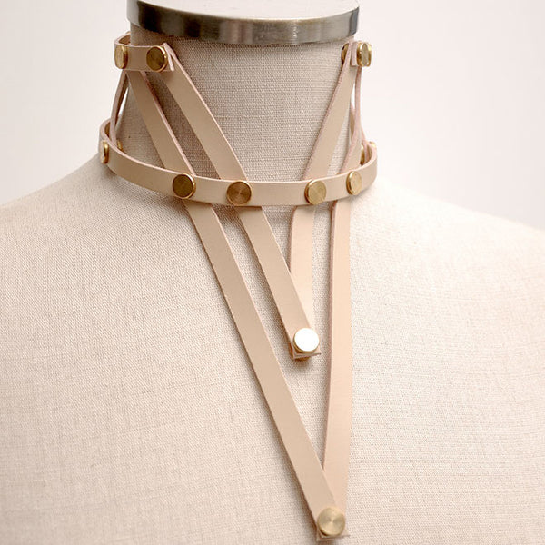 Shop emerging slow fashion accessory brand Aumorfia nude leather VXL_necklace - Erebus - 9