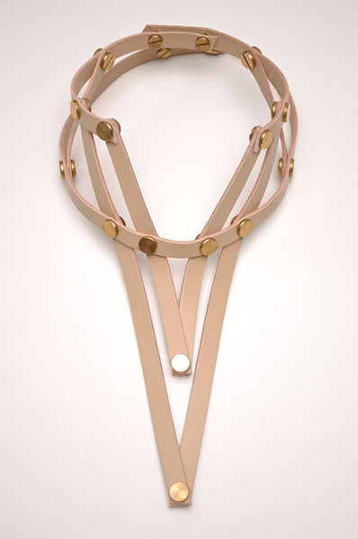 Shop emerging slow fashion accessory brand Aumorfia nude leather VXL necklace - Erebus - 6