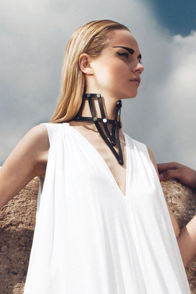 Shop emerging slow fashion accessory brand Aumorfia black leather VXL necklace - Erebus - 10