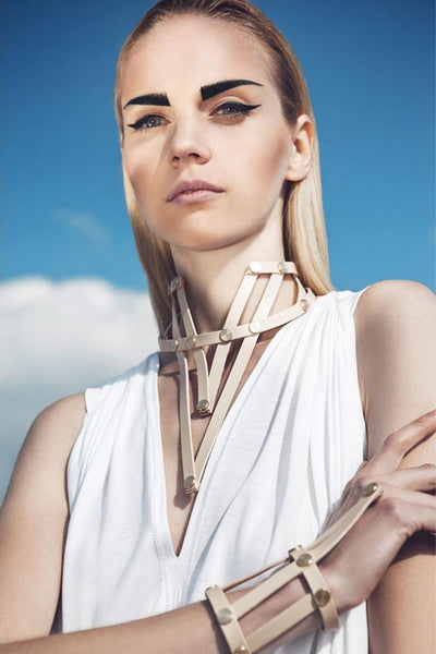 Shop emerging slow fashion accessory brand Aumorfia nude leather VXL_necklace - Erebus - 11