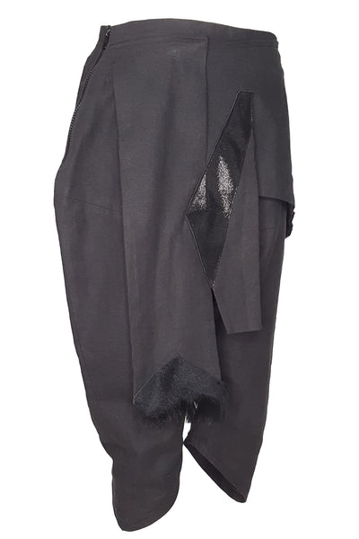 Shop Emerging Conscious Avant-garde Gender-free Brand Supramorphous Black Layered Linen 01 Long Shorts at Erebus