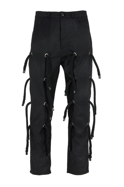 Shop Emerging Slow Fashion Avant-garde Genderless Brand Dhenze Black Kinbaku Trousers at Erebus