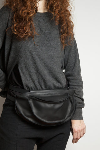 Shop Emerging Conscious Avant-garde Designer Brand MDK Miranda Kaloudis Black Waxed Vachetta Leather Lunar Fannypack Bum Bag at Erebus