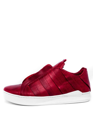 Shop emerging slow fashion unisex shoe brand EZ Lab Sneakers red on white Panelled Leather  Sneakers - Erebus