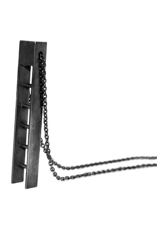 Shop Emerging Slow Fashion Avant-garde Jewellery Designer David Gaboriau Oxidised Silver Ladder Necklace at Erebus