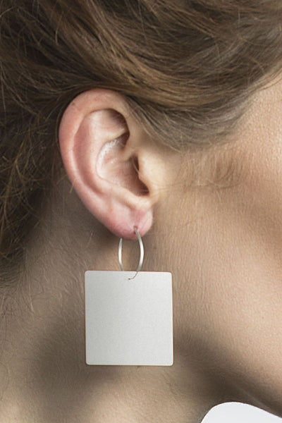 Shop Emerging Structural Jewellery Brand Conservation of Matter Silver Large Square Drop Earrings at Erebus