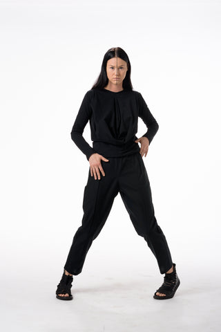 Shop Emerging Dark Conscious Gender-free Designer Lauri Jarvinen Zero Waste Black Cotton Casual Trousers at Erebus