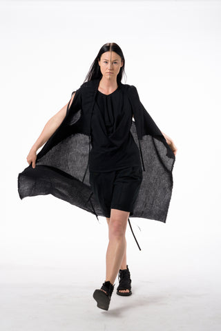 Shop Emerging Dark Conscious Gender-free Designer Lauri Jarvinen Zero Waste Black Cotton Knit Long Vest at Erebus