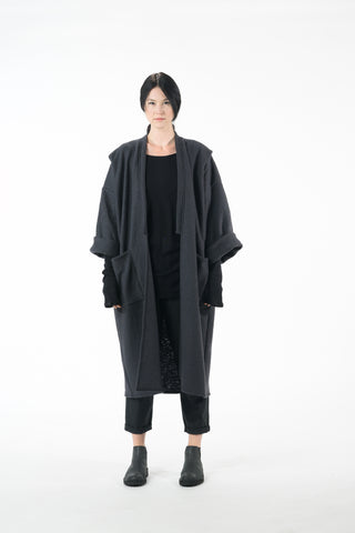 Shop Emerging Dark Conscious Gender-free Designer Lauri Jarvinen Zero Waste Dark Grey Wool Blend W Kimono at Erebus