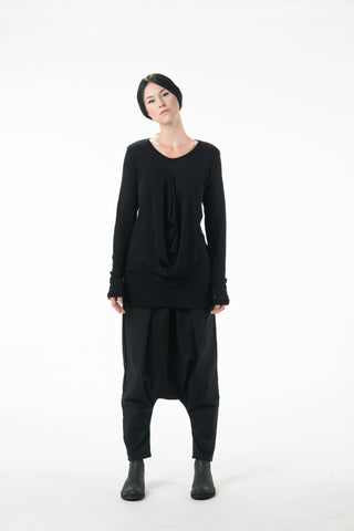 Shop Emerging Dark Conscious Gender-free Designer Lauri Jarvinen Zero Waste Black Wool Blend W P Shirt at Erebus