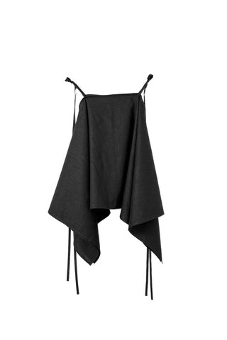 Shop Emerging Dark Conscious Gender-free Designer Lauri Jarvinen Zero Waste Black Linen Multiway Piece at Erebus