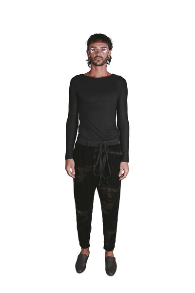 Shop Emerging Slow Fashion Genderless Avant-garde Designer Mark Baigent Rhiannon Collection Black Batik Ledge Pants at Erebus