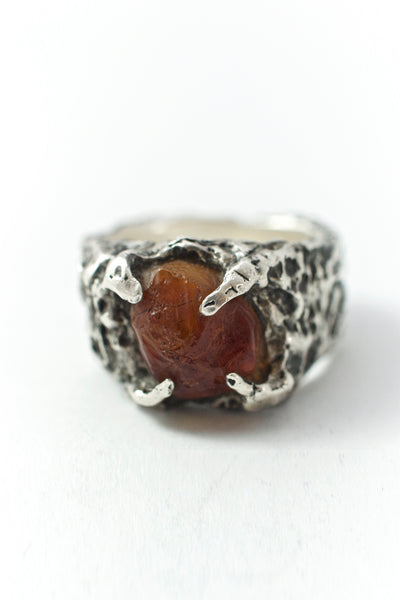 Shop Emerging Conscious Avant-garde Brand Black Rock Jewel Light Oram Baltic Amber Ring at Erebus