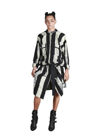 Shop Emerging Slow Fashion Genderless Avant-garde Designer Mark Baigent Rhiannon Collection Cotton Batik Little Lies Tunic at Erebus