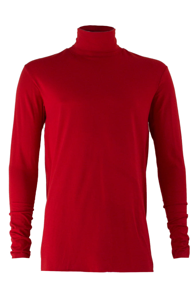 Shop Emerging Slow Fashion Avant-garde Menswear Designer Marco Scaiano Red Viscose Manon Turtleneck Top at Erebus