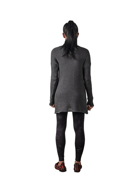 Shop Emerging Slow Fashion Genderless Avant-garde Designer Mark Baigent Spittelberg Collection Grey Knit Cotton Long Liz Sweater at Erebus