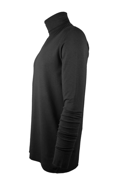 Shop Emerging Slow Fashion Avant-garde Menswear Designer Marco Scaiano Black Viscose Manon Turtleneck Top at Erebus