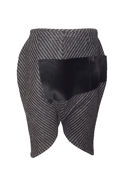Shop Emerging Conscious Avant-garde Gender-free Brand Supramorphous Black and White Wool Lotus Shorts at Erebus