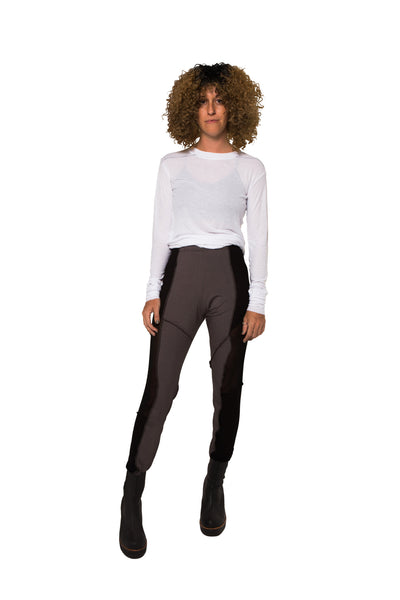 Shop Emerging Slow Fashion Genderless Avant-garde Designer Mark Baigent UNITAS Collection Black and Grey Atlas Leggings at Erebus