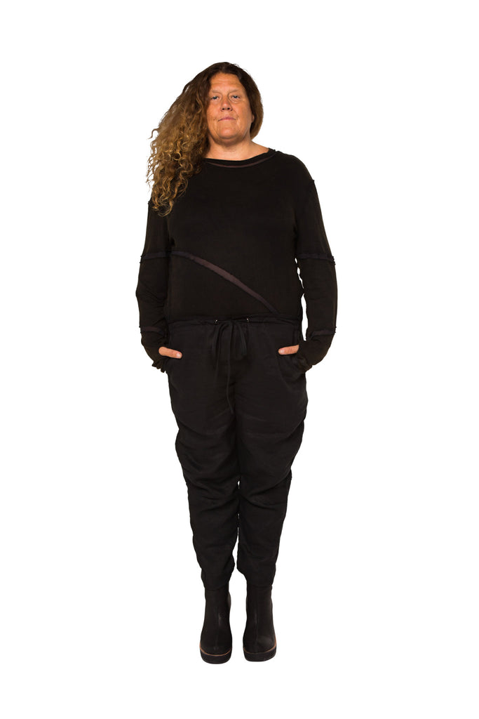 Shop Emerging Slow Fashion Genderless Avant-garde Designer Mark Baigent UNITAS Collection Black Carrot Pants at Erebus