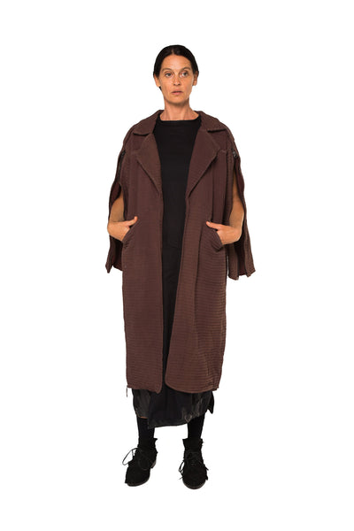 Shop Emerging Slow Fashion Genderless Avant-garde Designer Mark Baigent UNITAS Collection Kona Coat at Erebus