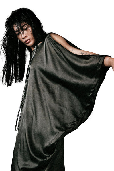 Shop Emerging Slow Fashion Agender Avant-garde Designer Mark Baigent Asymmetric Olive Silk Bulba Dress at Erebus