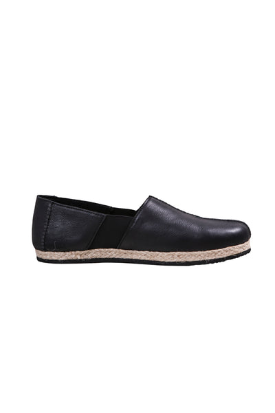 Shop Emerging Slow Fashion Agender Avant-garde Designer Mark Baigent Black Surplus Leather Neebi Flats at Erebus