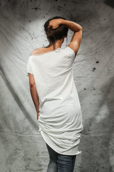 Shop Emerging Slow Fashion Conscious Conceptual Womenswear Brand Things I Miss Off-white Organic Cotton Jersey Obleka Tube Dress at Erebus